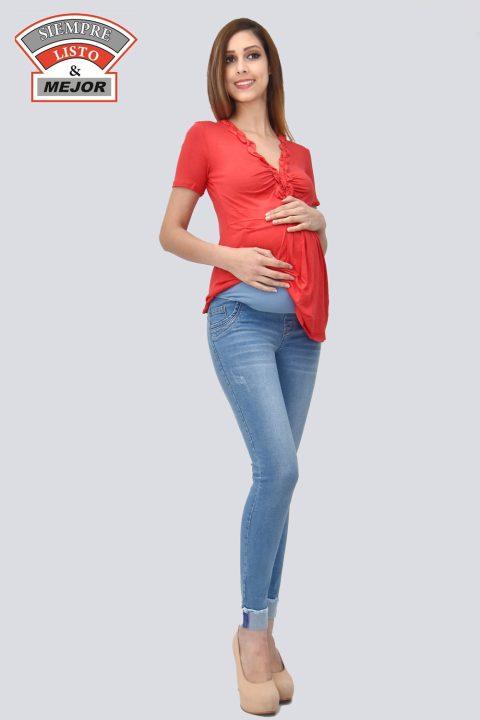 Pantalon Jeans Materno Celeste Listo Y Mejor Gamarra Ropa En Peru