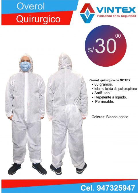 overol de notex 80 gramos tela no tejida antifluidos repelente a liquidos permiable